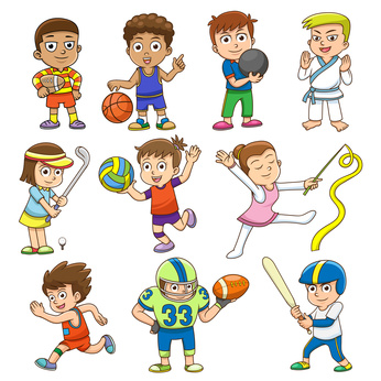 illustration of children playing different sports. EPS10 File simple Gradients