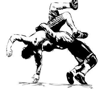 Wrestlers sketch in fight