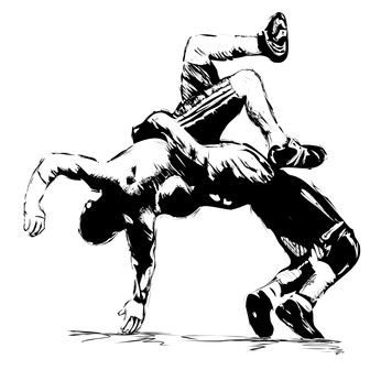 Wrestlers sketch in fight